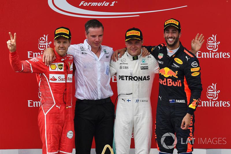 9º Podio del GP de Austria 2017 - 2º Sebastian Vettel, Ferrari; 1º Valtteri Bottas, Mercedes; 3º Daniel Ricciardo, Red Bull Racing