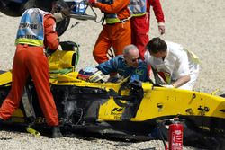 Takuma Sato, Jordan Honda after the crash
