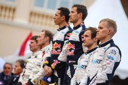 Podium: race winners Sébastien Ogier, Julien Ingrassia, M-Sport, second place Jari-Matti Latvala, Miikka Anttila, Toyota Racing, third place Ott Tänak, Martin Järveoja, M-Sport