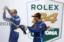 Champagne shower woth #90 VisitFlorida.com Racing Multimatic Riley LMP2: Renger van der Zande, René Rast