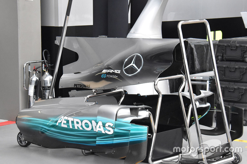 Detalle de la carrocería Mercedes AMG F1 W08