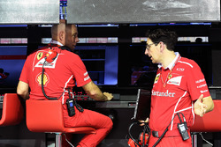 Jock Clear, Ferrari Chief Engineer and Mattia Binotto, Ferrari Chief Technical Officer on the pitwal