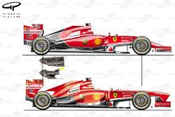Ferrari F14 T compared with the F138, note difference in gearbox shape and size too