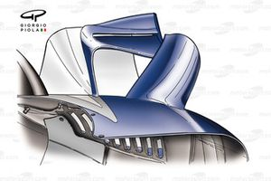 Williams FW26 sidepod winglet prior to the Belgian GP