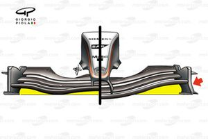 McLaren MP4-19 front wing changes, note deeper flap curvature and curved endplate