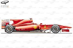 Ferrari F10, vista laterale, monoposto del lancio