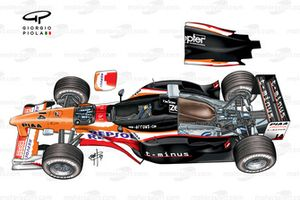 Arrows A20 suspension and engine covers removed