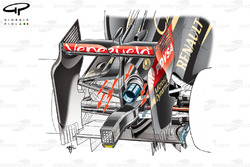 Lotus E22 rear end detail (depicts asymmetric exhaust layout, arrows show larger cooling aperture on left side of the car)