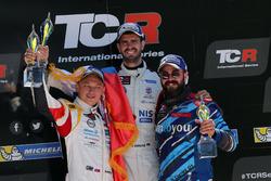 Podium: Race winner Dusan Borkovic , GE-Force, Alfa Romeo Giulietta TCR, second place Mato Homola, DG Sport Compétition, Opel Astra TCR, third place Stefano Comini, Comtoyou Racing, Audi RS3 LMS