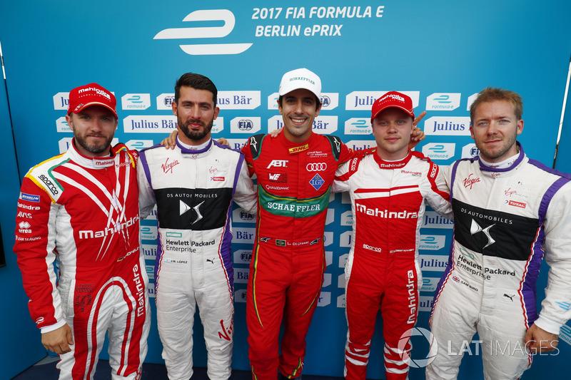 Nick Heidfeld, Mahindra Racing, Jose Maria Lopez, DS Virgin Racing, Lucas di Grassi, ABT Schaeffler