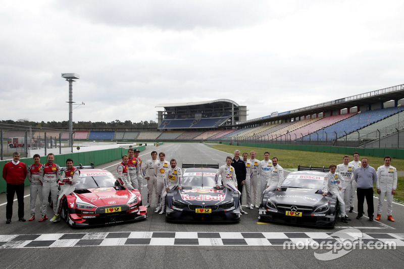 All 2017 drivers with Dieter Gass, Head of DTM Audi Sport, Jens Marquardt, BMW Motorsport Director,