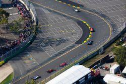 Lewis Hamilton, Mercedes AMG F1 W08, leads Sebastian Vettel, Ferrari SF70H, Valtteri Bottas, Mercedes AMG F1 W08, and Kimi Raikkonen, Ferrari SF70H