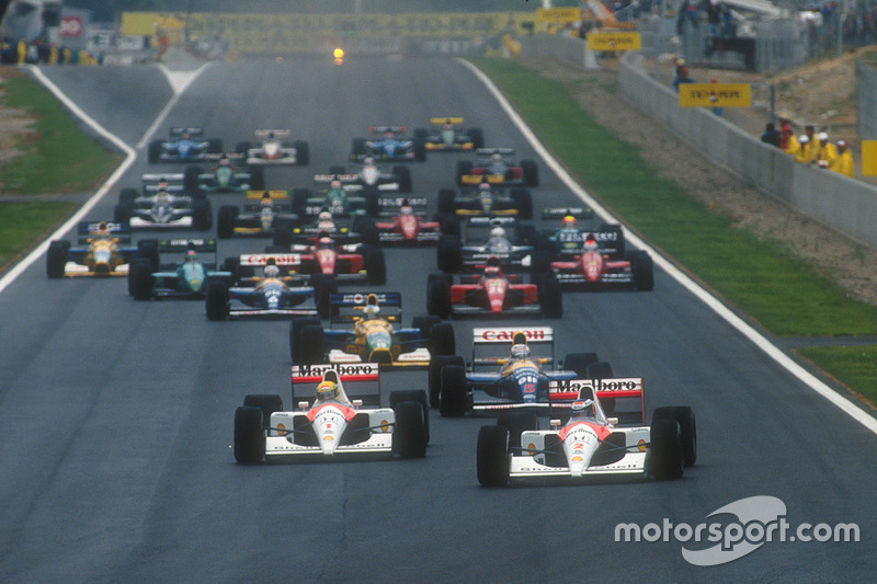 Gerhard Berger, McLaren MP4/6 Honda leads Ayrton Senna, McLaren MP4/6 Honda, Nigel Mansell, Williams FW14 Renault, Michael Schumacher, Benetton B191 Ford, Riccardo Patrese Williams FW14 Renault, Jean Alesi, Ferrari 643 at the start