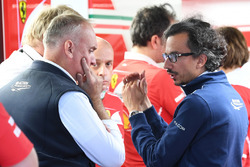 Laurent Mekies, FIA Safety Director in the Ferrari garage