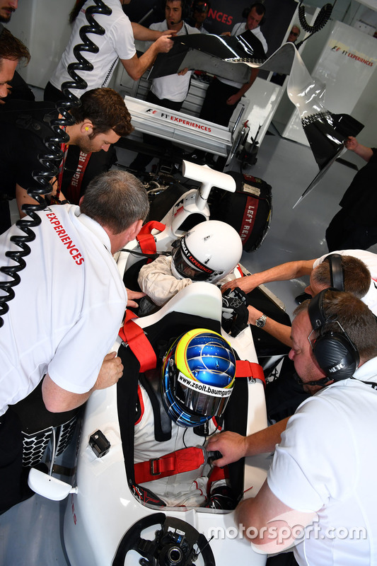 Zsolt Baumgartner, F1 Experiences 2-Seater driver and F1 Experiences 2-Seater passenger Thomas Senecal, Journalist and Presenter for Canal +