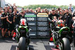 Race winner Jonathan Rea, Kawasaki Racing, second place Tom Sykes, Kawasaki Racing celebrate 100 Kaw