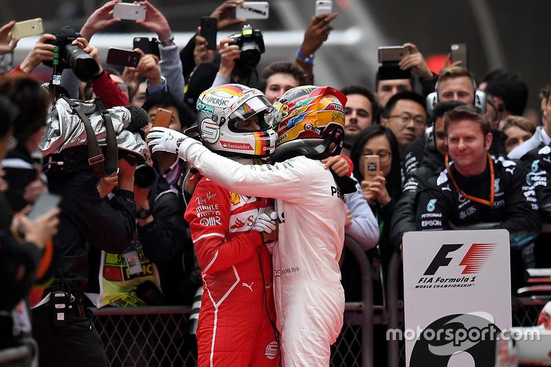 Lewis Hamilton, Mercedes AMG F1 and Sebastian Vettel, Ferrari in parc ferme