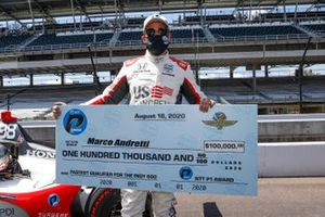 Marco Andretti, Andretti Herta with Marco & Curb-Agajanian Honda celebrates after winning the NTT P1 Award and pole with $100,000 check