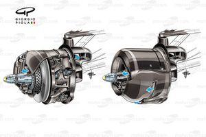 Flujo de aire de los frenos del Mercedes AMG F1 W11
