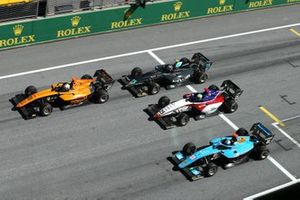 Sophia Floersch, Campos Racing, leads Matteo Nannini, Jenzer Motorsport, David Schumacher, Charouz Racing System, Jake Hughes, HWA Racelab, and Alexander Smolvar, ART Grand Prix, at the start