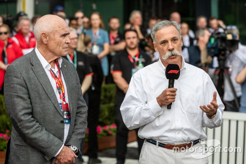 Chase Carey, CEO di F1, Paul Little (Presidente), Australian Grand Prix Corporation