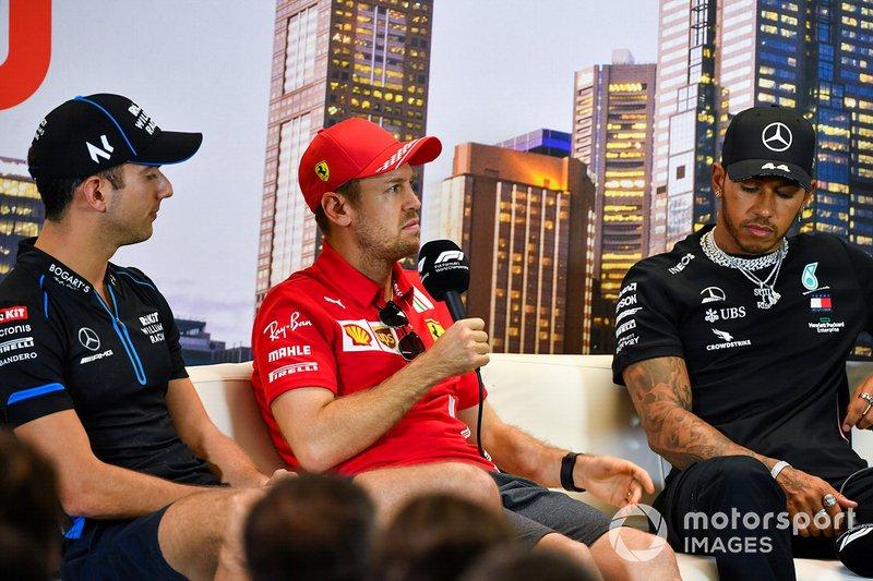 Nicholas Latifi, Williams Racing, Sebastian Vettel, Ferrari e Lewis Hamilton, Mercedes-AMG Petronas F1, in conferenza stampa