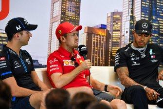 Nicholas Latifi, Williams Racing, Sebastian Vettel, Ferrari et Lewis Hamilton, Mercedes-AMG Petronas F1, en conférence de presse