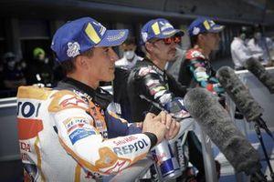 Polesitter Fabio Quartararo, Petronas Yamaha SRT, tweede plaats Maverick Vinales, Yamaha Factory Racing, derde plaats Marc Marquez, Repsol Honda Team