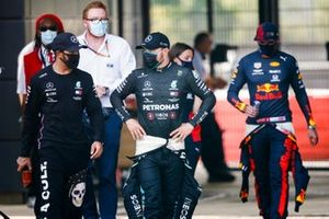 Lewis Hamilton, Mercedes AMG F1, Valtteri Bottas, Mercedes AMG F1, and Max Verstappen, Red Bull Racing