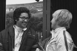 Andrea de Adamich, McLaren M7D-Alfa Romeo chats with George Eaton, B.R.M. P153