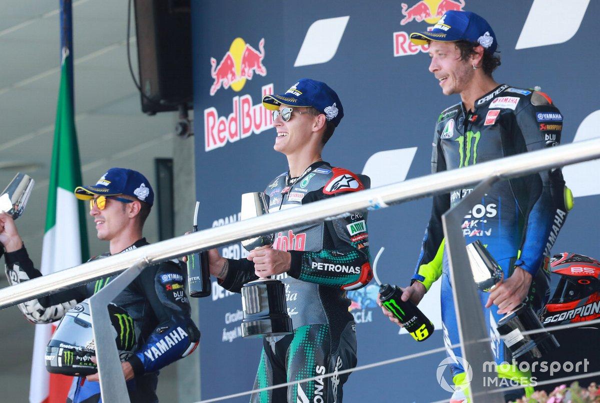 Maverick Viñales, Yamaha Factory Racing, Fabio Quartararo, Petronas Yamaha SRT,Valentino Rossi, Yamaha Factory Racing