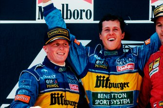 Michael Schumacher, Benetton, y Johnny Herbert, Benetton