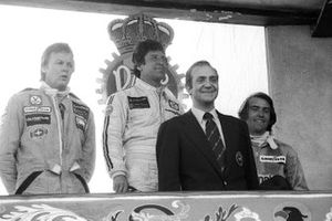 Race Winner Mario Andretti, Lotus, Ronnie Peterson, Lotus, second, King Juan Carlos of Spain, Jacques Laffite, Ligier, third.