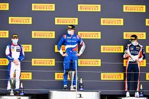 David Beckmann, Trident, Race Winner Alexander Smolyar, ART Grand Prix and Clement Novalak, Carlin on the podium