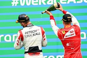 Race winner Luca Ghiotto, Hitech Grand Prix and Mick Schumacher, Prema Racing celebrate on the podium