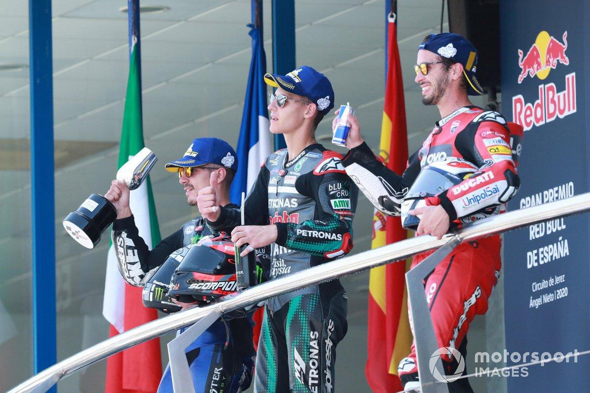 Podio: ganador de la carrera Fabio Quartararo, Petronas Yamaha SRT, segundo lugar Maverick Viñales, Yamaha Factory Racing, tercer lugar Andrea Dovizioso, Ducati Team