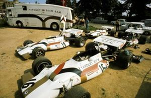 The paddock area for the Yardley BRM team