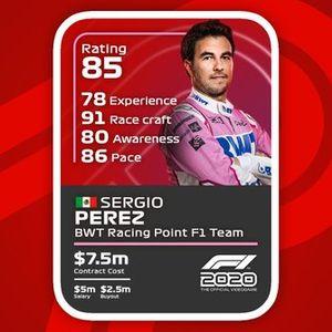 Cartas del F1 2020: Sergio Perez