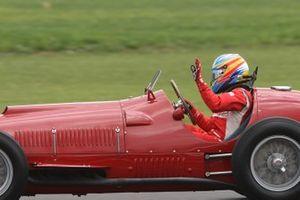 Fernando Alonso drives the Ferrari 375