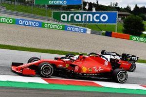Charles Leclerc, Ferrari SF1000, leads Daniil Kvyat, AlphaTauri AT01
