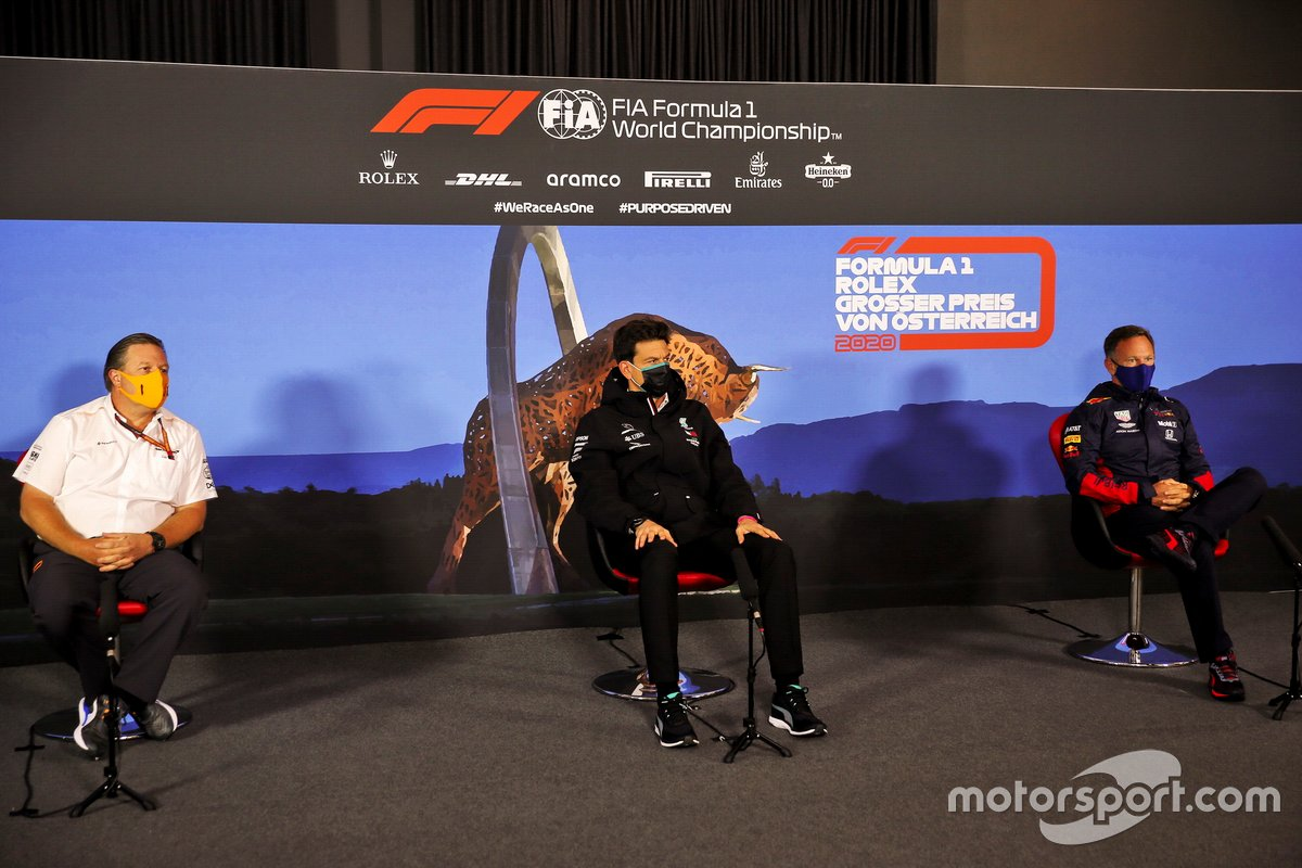 Zak Brown, Executive Director, McLaren, Toto Wolff, Executive Director (Business), Mercedes AMG and Christian Horner, Team Principal, Red Bull Racing in the press conference