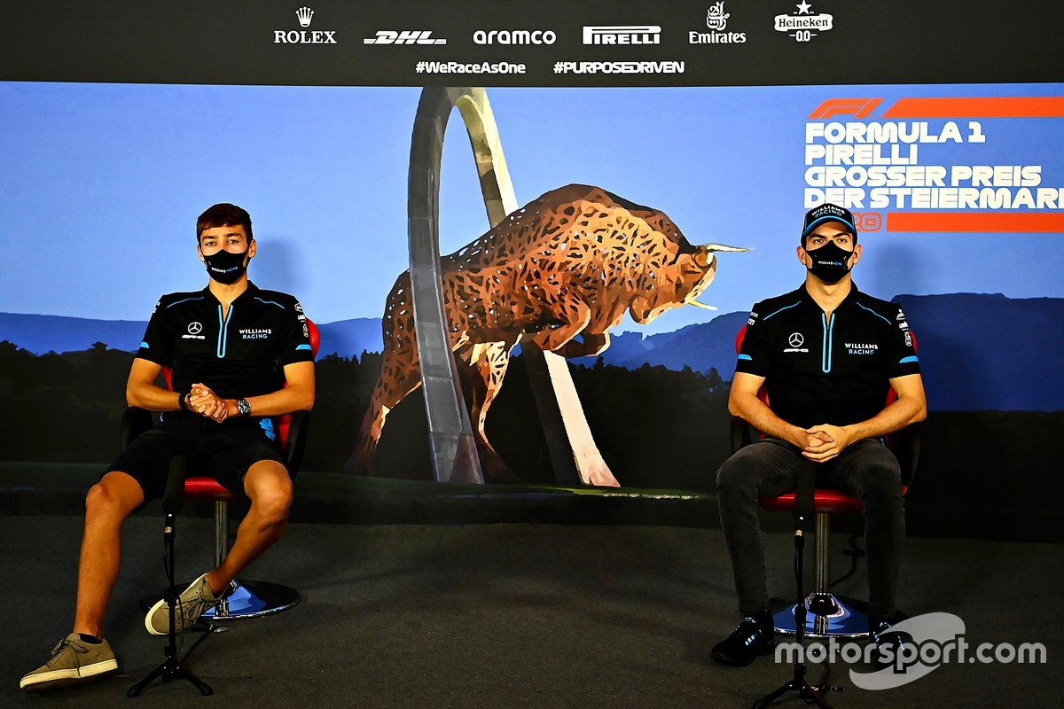 George Russell, Williams Racing e Nicholas Latifi, Williams Racing in conferenza stampa