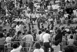 Francois Cevert, le vainqueur Emerson Fittipaldi et Jackie Stewart