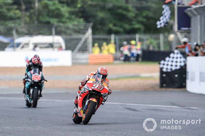 Il vincitore della gara Marc Marquez, Repsol Honda Team, il secondo classificato Fabio Quartararo, Petronas Yamaha SRT