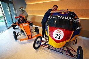 Max Verstappen, Red Bull Racing, Alex Albon, Red Bull Racing pose with their Red Bull Soapbox racers
