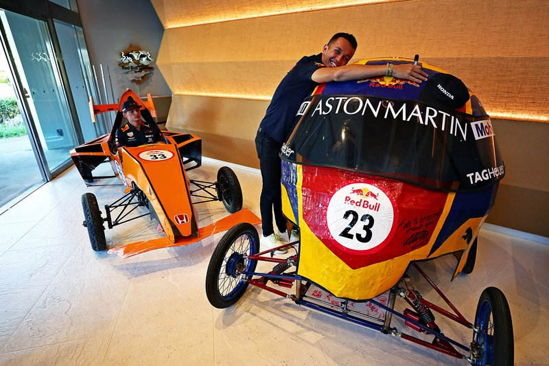 Max Verstappen, Red Bull Racing, Alex Albon, Red Bull Racing pose with their Red Bull Soapbox racers