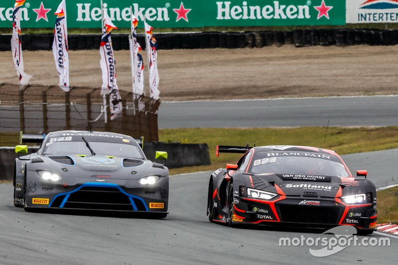 #62 R-Motorsport Aston Martin Vantage AMR GT3: Aaro Vainio, Hugo de Sadeleer, #10 Belgian Audi Club Team WRT Audi R8 LMS GT3: Rik Breukers, Oscar Tunjo