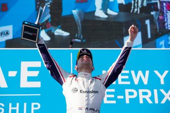 Robin Frijns, Envision Virgin Racing, Audi e-tron FE05, celebrates on the podium