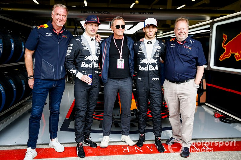 Max Verstappen, Red Bull Racing, Actor Daniel Craig, y Pierre Gasly, Red Bull Racing