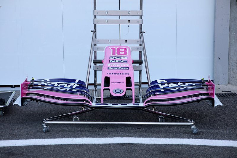 Lance Stroll, Racing Point RP19 front wing detail